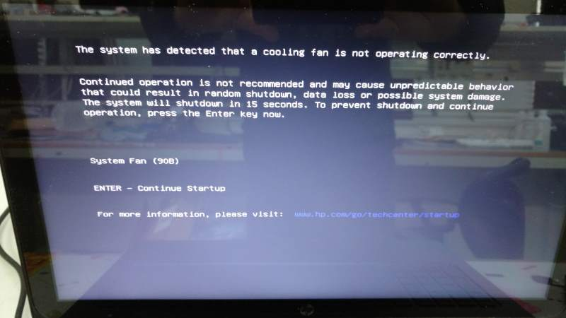 HP Pavilion 15-p099na System Fan Error